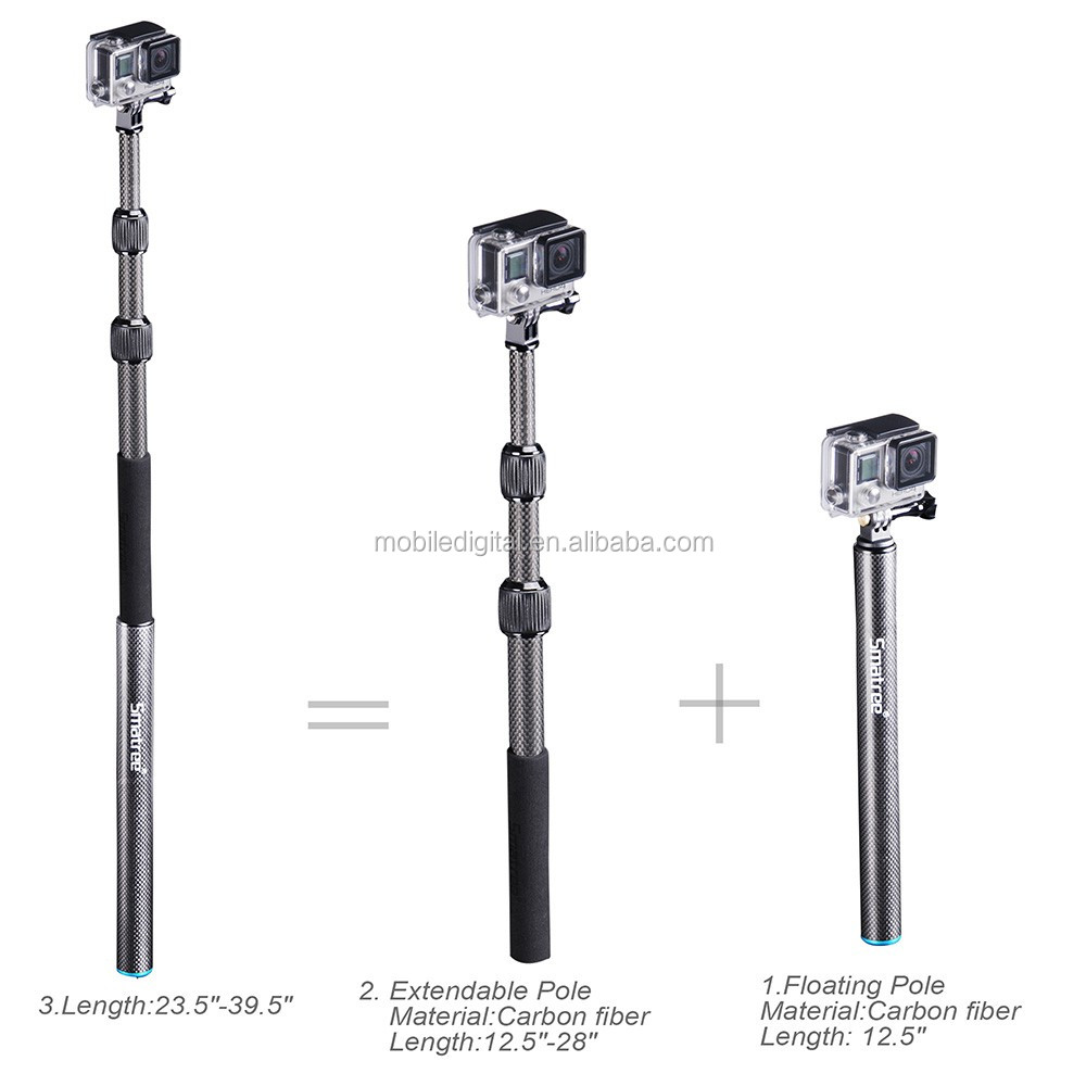 New camera Go pro 5 carbon monopod with Smatree S3C pole replacement