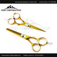 Golden hair scissors set Gold titanium 5.5 inch hair cutting scissors and hair