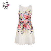 HAODUOYI Women Fashion Floral Print Elastic Waist Cute Vintage Elegant Sleeveless A-Line Slim Summer Dress for Wholesale