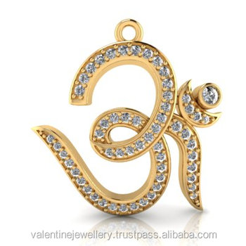 Religious om pendant in pure gold with round diamonds buy om religious om pendant in pure gold with round diamonds mozeypictures Image collections
