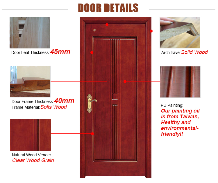 Interior Solid Wood Single&double Doors With Frosted Glass