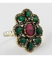 Antique Look Gemstone Emerald_Ruby_CZ Silver Ring With Brass, Handmade Gemstone Jewelry, Online Silver Jewelry