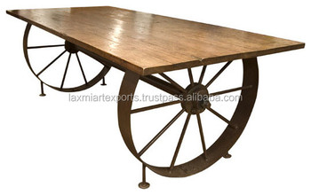 Wonderful Industrial Dining Table Wagon Wheel Design Cast Iron Dining Table Metal Leg  Dining Table