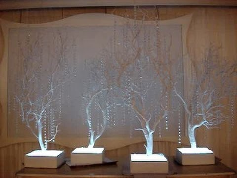 Winter Wonderland Themed White Manzanita Crystal Tree Centerpieces at Carlyle At The Palace