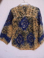 New Women wear multi color tie dye printed indian tunic top's & blouses / high quality stylis blouse