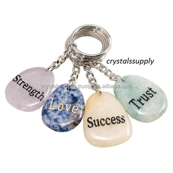 Multi Color Engraved Keychain : Customized Engraved Gratitude Stone Wholesale Engraved Beautiful Keychain From Crystals Supply