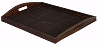 Black serving Tray, bottom in bamboo with wooden walls 47cm x 35cm x H6cm