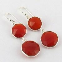Top Rich Orange !! Carnelian Bezel Setting 925 Sterling Silver Earring, Fashion Jewelry Manufacturer India, Gift Silver Jewelry