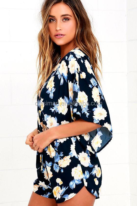 45286899992 Wholesale Chinese elastic waist short-sleeve navy blue floral sexy women s  short jumpsuit