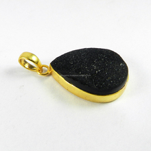 <span class=keywords><strong>Hitam</strong></span> bezel <span class=keywords><strong>Druzy</strong></span> <span class=keywords><strong>Liontin</strong></span>-Gemstone Pendant-18 k Emas disepuh fashion jewelry-IG2889