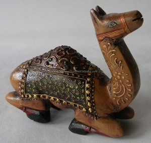 WOODEN CARVING CAMEL Wooden Sculpture Showpiece - Decorative Wooden Hand Painted Small Camel Figurine