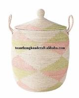 Pretty wicker seagrass hamper basket with lid