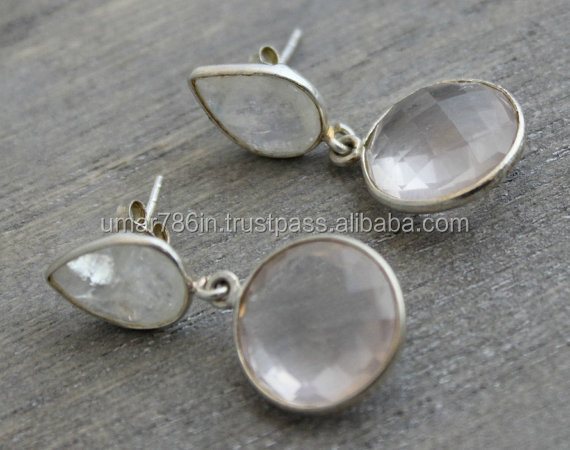 Moonstone & Rose Quartz Drop Silver Earring
