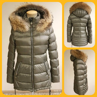 WOMAN DOWN COAT WITH REAL DETACHABLE RACOON HOOD