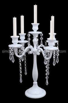 5 arm crystal drops white candelabras taper candle holders wedding