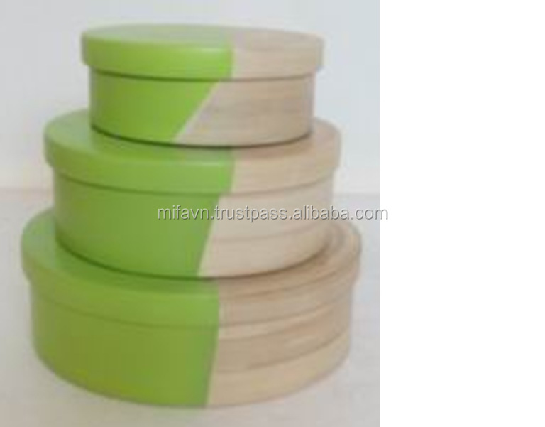 Natural and green set of bamboo box with lid