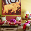 Golden Asian Thai Elephant with Full Moon Handpainted Acrylic Gold Leaf Painting on Canvas with Frame