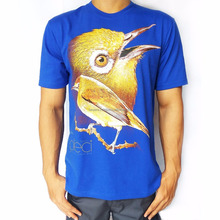 Bawara Regular T-Shirt 100% Soft Cotton | Bird Themes | White Eye (Pleci) - Blue