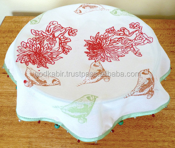 Red Flower and Bird Handprinted Beaded Bowl Cover/Pure white shinning look great finishing table cloth /Cheap rate table covers