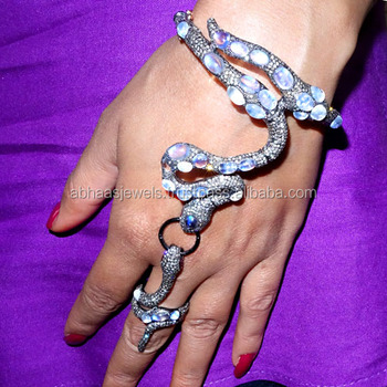 14k Gold Diamond Gemstone 925 Silver Slave Hand Harness Bracelet With Ring Whole Snake