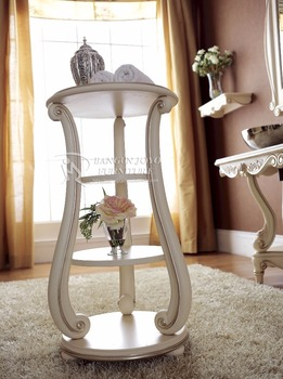 Round Wooden Corner Console Table