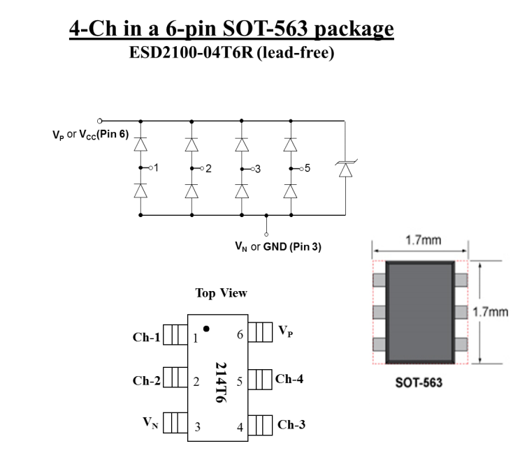 4-ch Sot-563 Low-capacitance Esd Diode Array Esd2100-04t6r