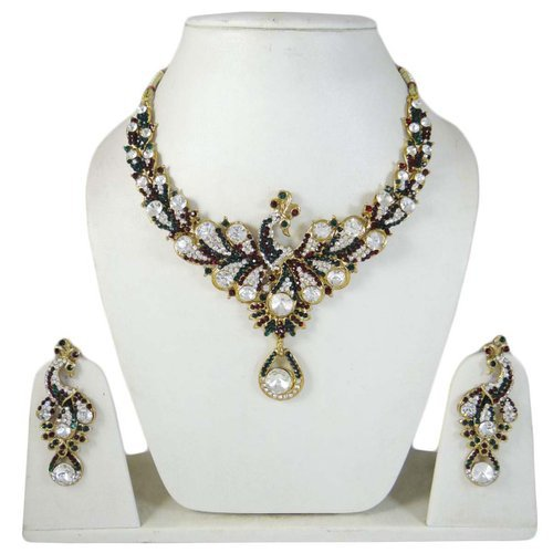 Ethnic Indian Jewellery Peacock Design Necklace Earring Set Bridal