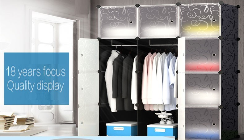 home furniture plastic foldable wardrobe with shoe cabinets