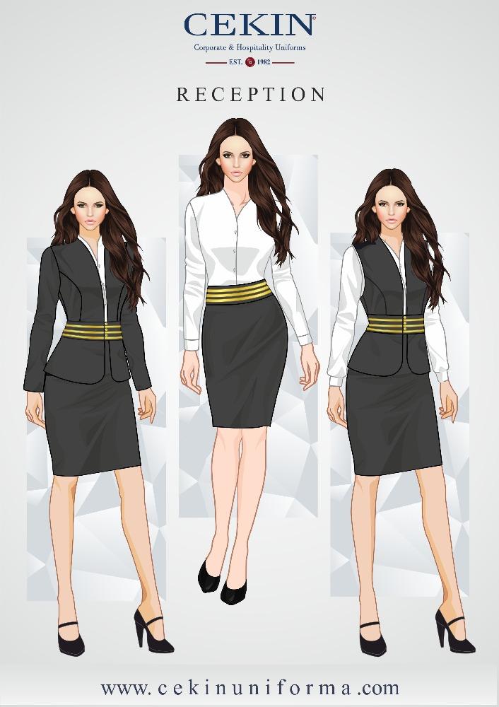 Spa front desk uniforms ladies front desk uniforms for Spa receptionist uniform design
