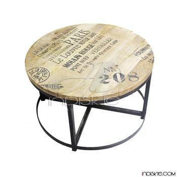 Ronde Salontafel Metaal.Industriele Vintage Meubels Metalen En Hout Ronde Salontafel