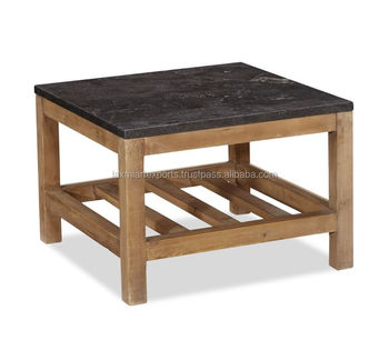 Granite Marble Top Wooden Coffee Table