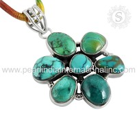 Charming Turquoise stone Pendant wholesale Silver Jewelry Supplier 925 sterling silver jewelry