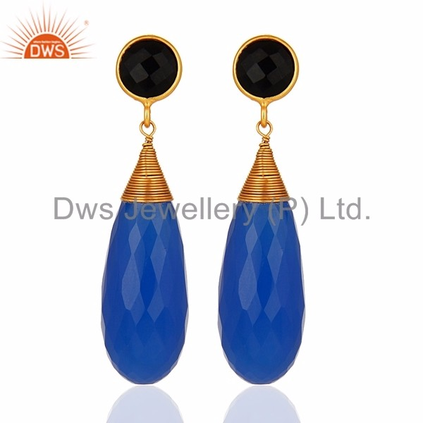 Wholesale Gold Plated 925 Sterling Silver Blue Chalcedony & Black Onyx Gemstone Dangle Earrings Manufacturer of Gemstone Jewelry