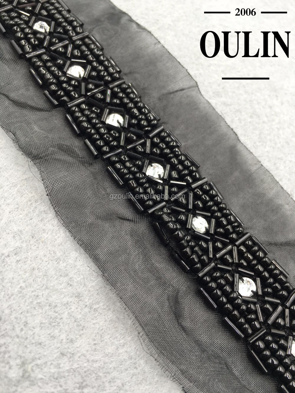 Wholesale black color glass tube lace embroidery beaded chain lace polyester lace trimming