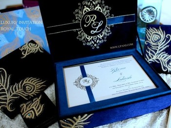 Velvet Wedding Invitation Box With Gold Embroidery