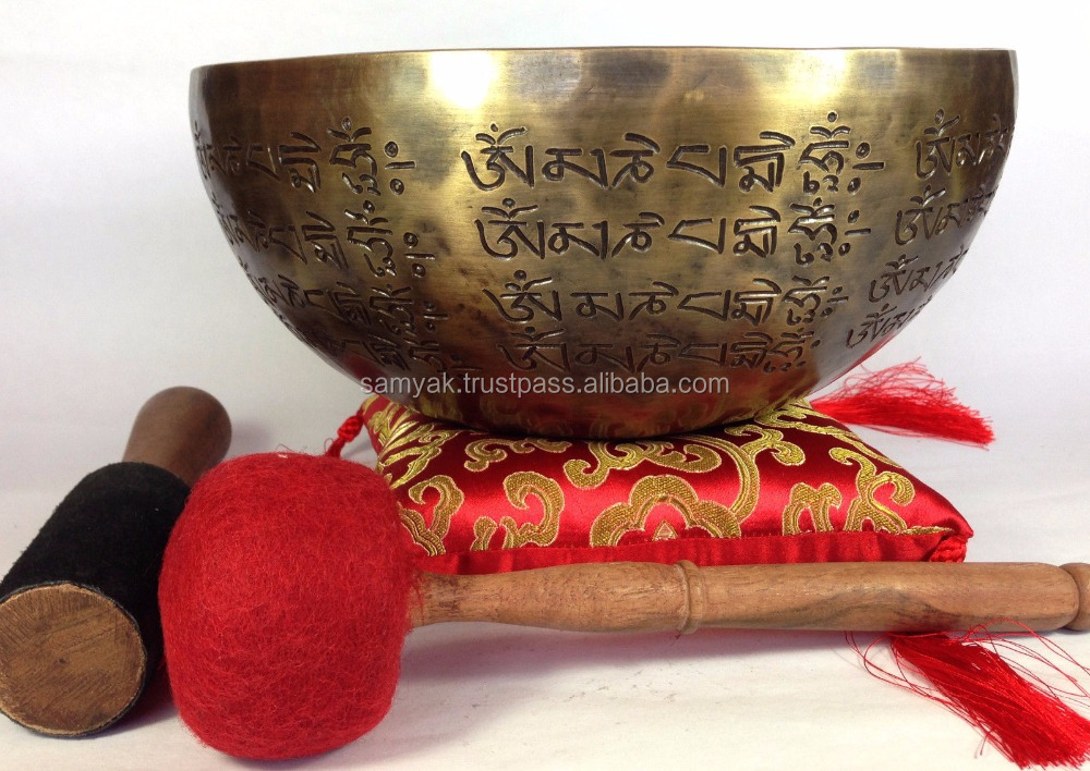Hand Carving Tibetan Mantra Crafted Buddha and Dorje Himalayan Singing Bowl