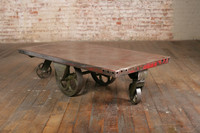Cast Iron Coffee Table, India Iron Coffee Table, vintage wheels cart coffee table
