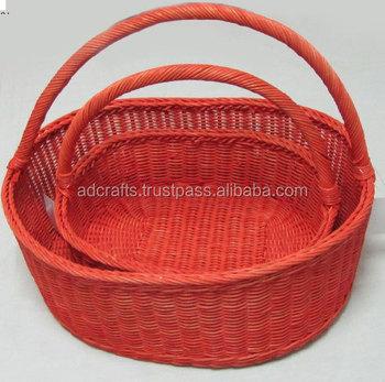 Big Basket With Handle, Storage For Fruits, Vegetables 100% Handmade,  Natural Material