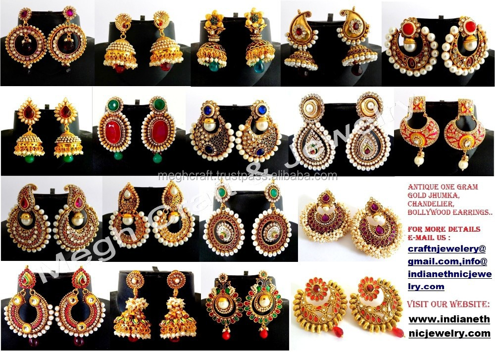 Indian Traditional Jhumka Earrings Antique Pearl Whole Imitation Online Jewelry Polki And