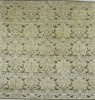 Hand Knotted Wool And Silk Green Amp Gold Color Transitional