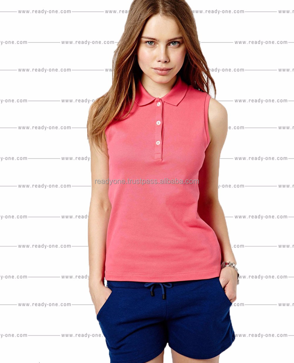 Wholesale short sleeve color combination collar design womens golf polo shirts