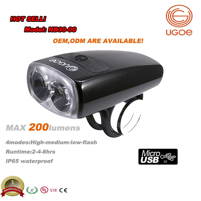 Ugoe Best Selling 200 Lumen Mini Led Bike Light Front Bicyle Light