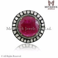 Vintage Victorian Jewelry Ruby Gemstone 925 Sterling Silver Rose Cut Diamond Ring