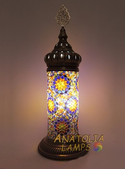 Turkish Mosaic Table Lamp, Lampshade Cylinder Turkish Lamp, Morrocan Style,  Handmade Lamp