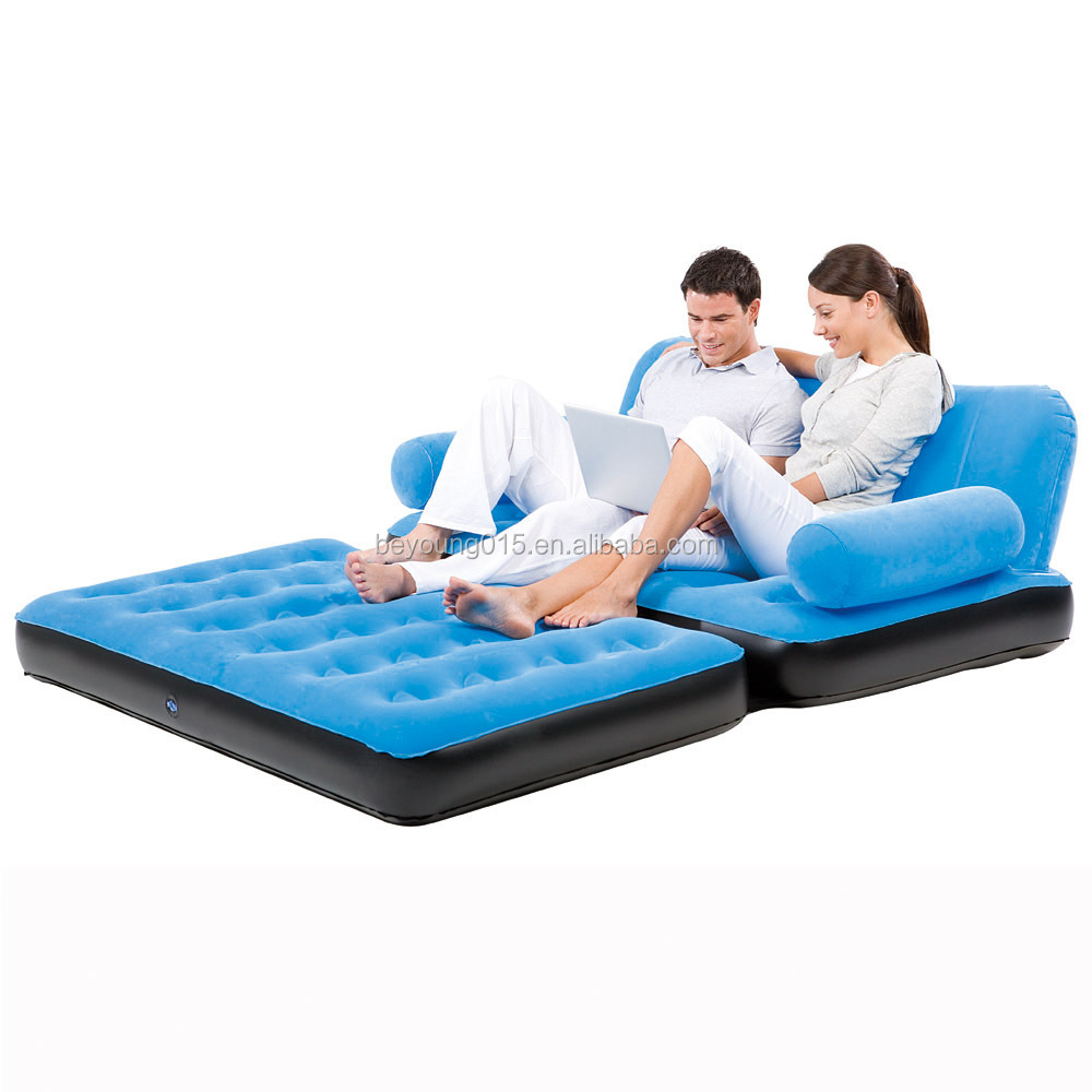 5 in 1 best way velvet air sofa cum bed inflatable recliner air