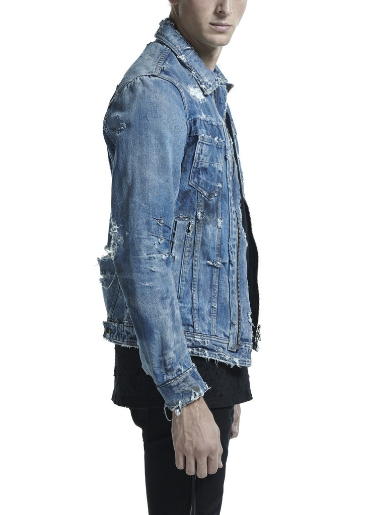 OEM DESTROYED TRUCKER JACKET MED INDIGO BIKER DENIM JACKET 001