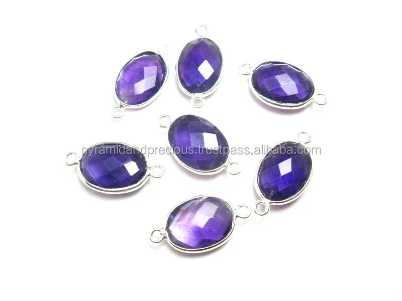 Amethyst Gemstone Oval Shaped 925 Sterling Silver Bezel Connectors