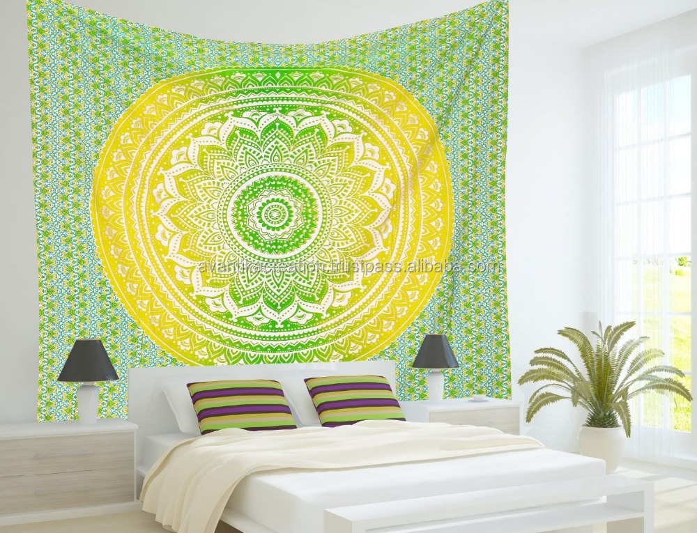 Nouvelle ombre coton tissu tapisserie murale mandala tapisserie d coration murale indienne - Tapisserie decoration murale ...