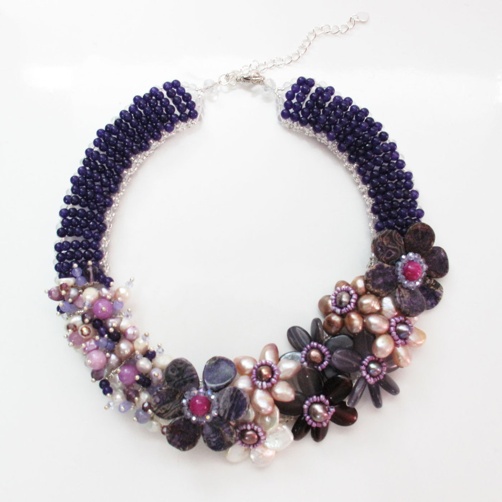 Purple Amethyst color of Pearl with Natural Stones Flower Statement Stone Necklace Set with Earrings