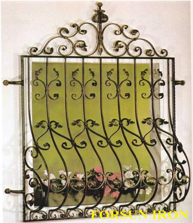 Wrought iron window grill design buy cast